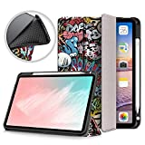 Case for New iPad Air 4th Generation 10.9 inch Case 2020 with Pencil Holder,Shinyzone Trifold Stand Leather Folio Magnetic Smart Auto Wake Sleep Cover for iPad 10.9 inch 2020,Graffiti