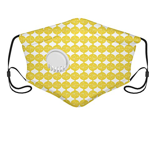 Fillter Face Cloth for man woman String Out Interconnected Hand Drawn Lemon Figures Forming Ogee Pattern Reusable Windproof Mouth Anti Dust Double Protection