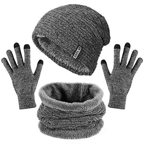 Aiglam Cappello Uomo Invernale, Berretto Uomo in Maglia Caldo Cappello Beanie con Sciarpa Cappello Sciarpa Uomo con Fodera in Pile - Grigio