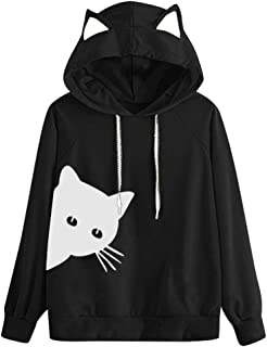 SUPOOH Women's T Shirt And Tops Casual Cat Print Comfortable Long Sleeved Hooded Sweater