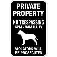 PRIVATE PROPERTY ブラックマグネットサイン:ブルマスティフ シルエット 英語 私有地 無断立入禁止