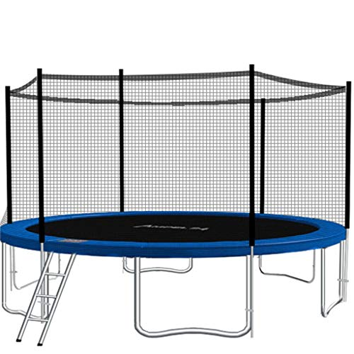 BHH Children's Trampoline Garden Trampoline 8 Foot Jump Mat With Safety Net With Ladder Kids Adult Fitness Stainless Steel Amusement Equipment Park Courtyard Load Capacity 300kg(Color:blue)