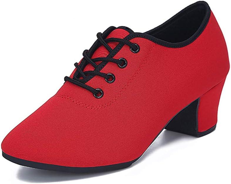 Lefuyan Women's Tap Shoe, Latin Tango Salsa Dance Shoes 1 Inch Heel Suitable for Summer,Red,34 EU(3 US)