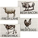 Jetec 4 Pieces Farmhouse Kitchen Signs Farm Animals Wall Art Vintage Wooden Cow Pig Lamb Rooster Decor Signs Rustic Wooden Wall Decor Signs Country Decorations for Kitchen Wall Decor Home Decor