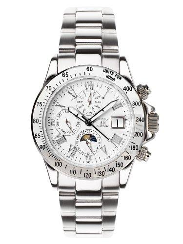 André Belfort 410139 - Reloj analógico de caballero automático con correa de acero inoxidable plateada - sumergible a 50 metros