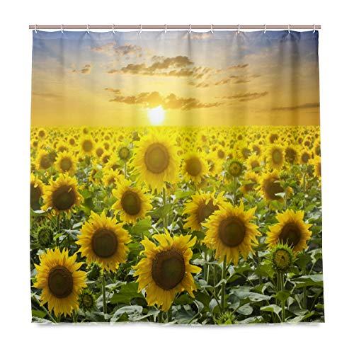 Wamika Duschvorhang, Sonnenblumen-Design, langlebiger Stoff, schimmelresistent, wasserdicht, mit 12 Haken, 183,0 cm x 183,0 cm