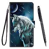 TOUCASA für Galaxy J5 2017 Hülle, Handyhülle für Galaxy J530,Premium Brieftasche PU Leder Flip [Kreativ Gemalt] Hülle Handytasche Klapphülle für Samsung Galaxy J5 2017 / J530 (Denkender Wolf)