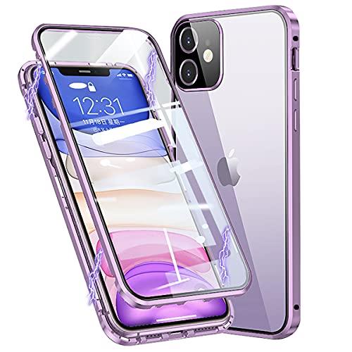 Cover per iPhone 12 Custodia Magnetica 360 Gradi Antiurto Trasparente Case con Protezione Integrata dello Schermo Cornice Metallica Rugged Armor per iPhone 12, Viola
