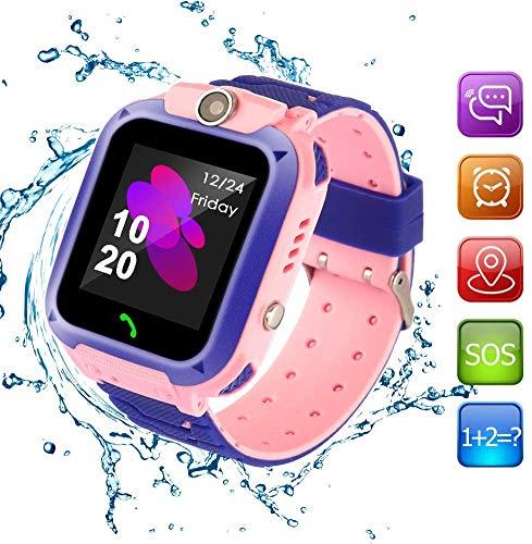 SOS-telefoon en afstandsbediening APP GPS-tracker Smart Watch voor kinderen, Activity Tracker met SOS-oproepen Wekker Zaklamp Game Speelgoed voor meisjes Jongens 4-12 jaar Verjaardagscadeaus,Pink