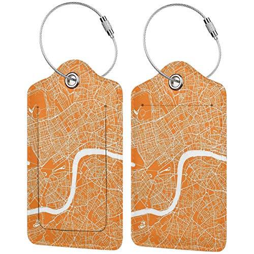 Etiquetas para equipaje de mano, diseño de mapa de Londres, color naranja