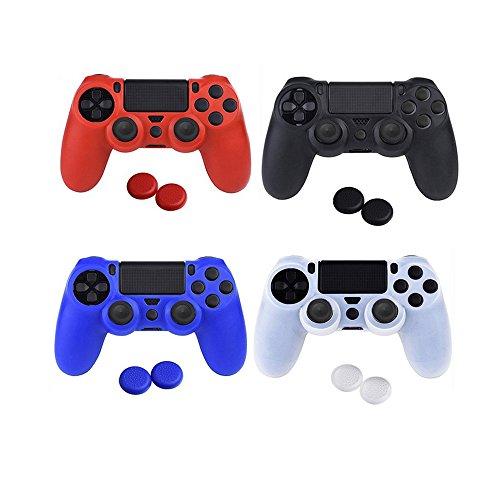 Asiv 4 Colori Silicone Cover Custodia Morbida per PS4 Controller con 8 Thumb Grip Joystick Accessori del Gioco