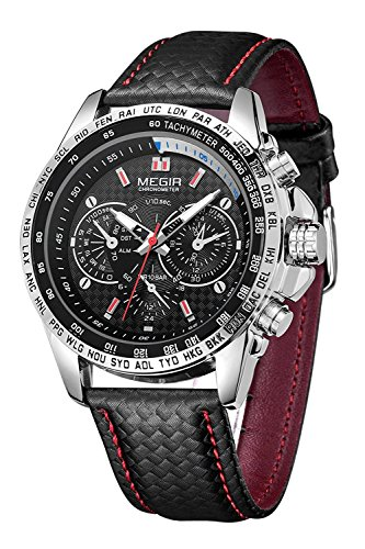 MEGIR Reloj de pulsera de cuarzo analógico para hombre, de cuero, casual, resistente al...