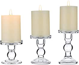 "Candle Holders, Set of 3 Clear Glass Candle Holders for 3"" Pillar & Taper Candle, 2 Uses Candleholder Centerpieces for Wed..."