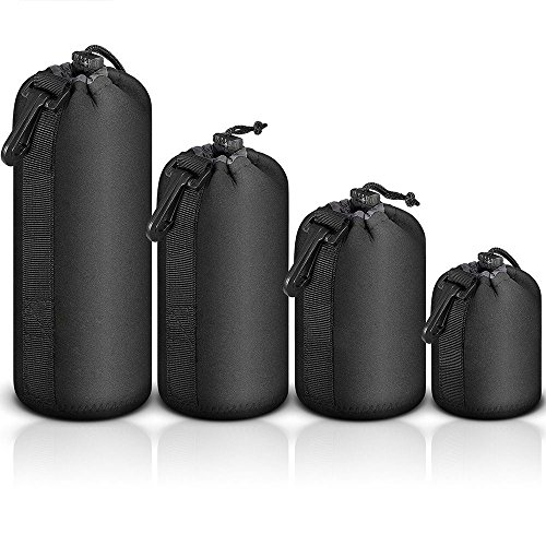 Selens 4 Pack Lens Cases with Thick Protective Neoprene Camera Lens Pouch Set for DSLR Camera Lens...