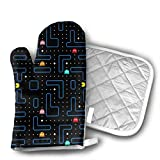 antcreptson Pac Man Retro Arcade Gaming Design Oven Mitt, Create Unique New Recipes for You, Super-Insulated Quilting, Natural-Fitting Shape,