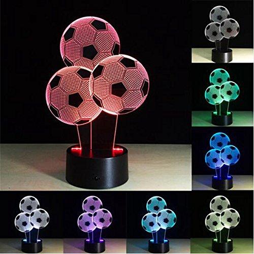 USB 3D Luz de Noche de los Niños Regalo LED Lámpara Táctil Fútbol Fc Luz de Noche 3D Luminaria Dormitorio Lámpara de Noche
