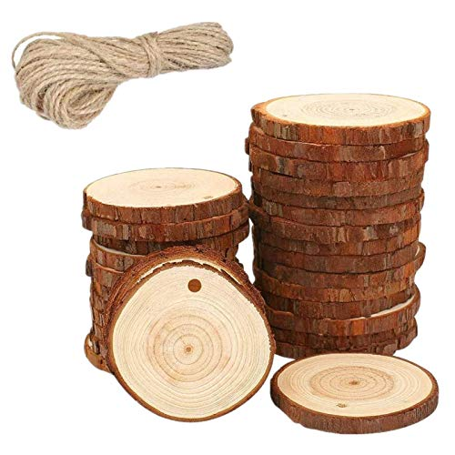 WOWOSS 30 Pcs Unfinished Natural Wood Slices 2.4