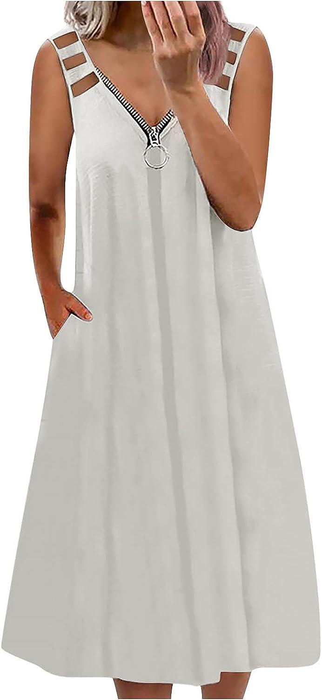 Houston Mall Eoailr Womens Zipper V-Neck Dress Sleeveless Tank Co Now free shipping Solid