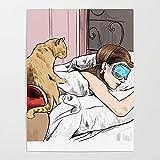 MBOQIAN Pintura por Números para Adultos, Gato y niña DIY Pintura Pintar por Numeros Kits sobre Lienzo, Decoraciones para el Hogar 40x50cmSin Marco