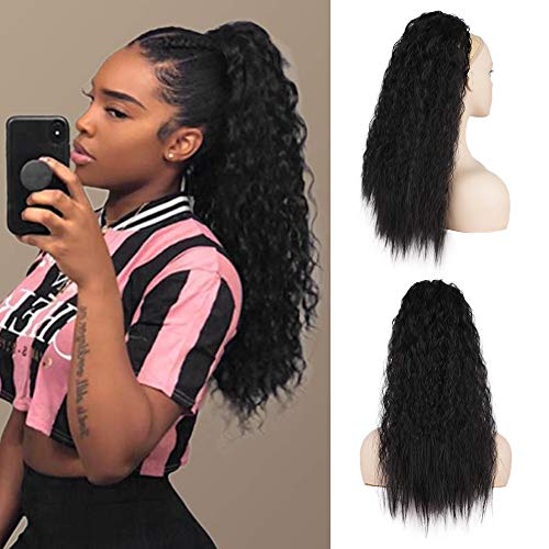 AISI BEAUTY Curly Ponytail Extension for Black Women 22'' Wavy Drawstring Ponytail Hair Piece Clip on Kinky Straight Yaki Ponytail (1B)