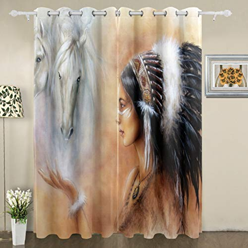 """My Little Nest Blackout Window Curtains Indian Woman and Two White Horse Grommet Thermal Insulated Room Darkening Drapes for Bedroom Living Room 55""""x84""""(2 Panels)"""