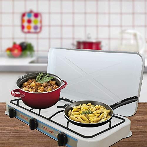 REPLOOD Fornello Gas Gpl 3 Fuochi Bianco Fornellino da Campeggio Cucina Portatile 57x27 cm