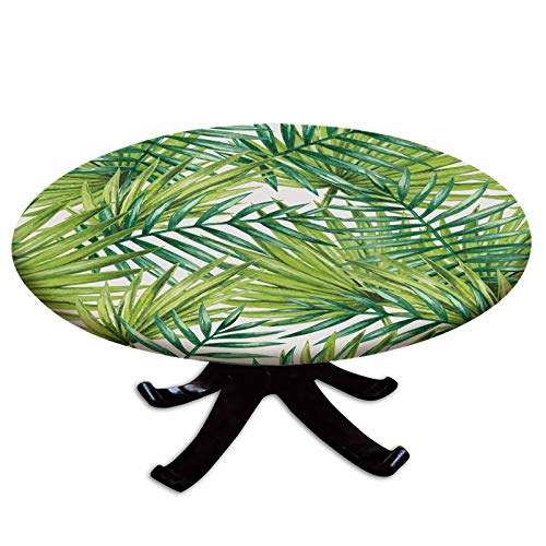 Elastic Edged Polyester Fitted Table Cover,Watercolor Tropical Palm Leaves Colorful Illustration Natural Feelings Decorative,Fits up 45'-56' Diameter Tables,The Ultimate Protection for Your Table,Fern