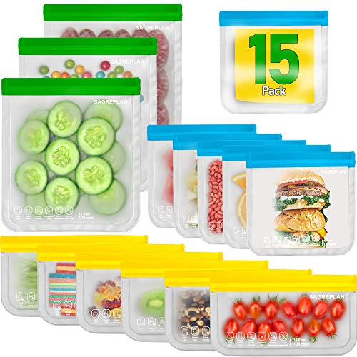 Reusable Storage Bags For Food  15 Pack Freezer Bags | 3 Reusable Gallon Bags  6 Reusable Sandwich Bags  6 Reusable Snack Bags | Non Plastic/Silicone Lunch Bags For Kids