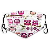 Face Guard Mundschutz Kinderzimmer, Mädchen Baby Shower Themen Eulen und Zweige Cartoon Tierfiguren, lila rosa braun