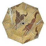 Wildes Rennendes Pferd Regenschirm Automatik Auf-Zu UV-Schutz Taschenschirm Umbrella Klein Leicht Schirme für Jungen Mädchen Reise Strand Frauen