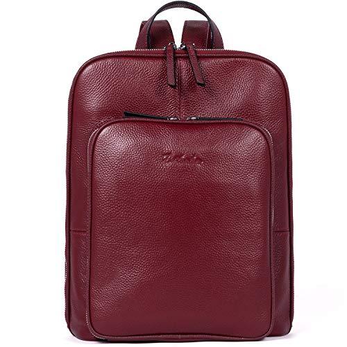 BOSTANTEN Leder Rucksack Damen Schulrucksack Reiserucksack Tagesrucksack Casual Backpack Daypacks Rot