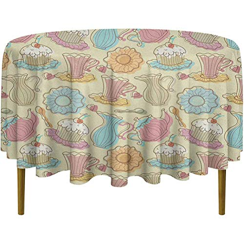 ScottDecor Tea Party Spillproof Tablecloth Old Fashioned Hand Drawing Style Creamy Cupcakes Mugs Coffee Drinks Cute Hearts Multicolor Diameter 70'