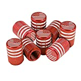 American Flag Tire Valve Stem Caps, 8 Pcs Anti-Theft Premium Metal Rubber Seal Tire Valve Caps, Universal Fit for Cars, SUVs, Bike and Bicycle, Trucks, Motorcycles (Red)