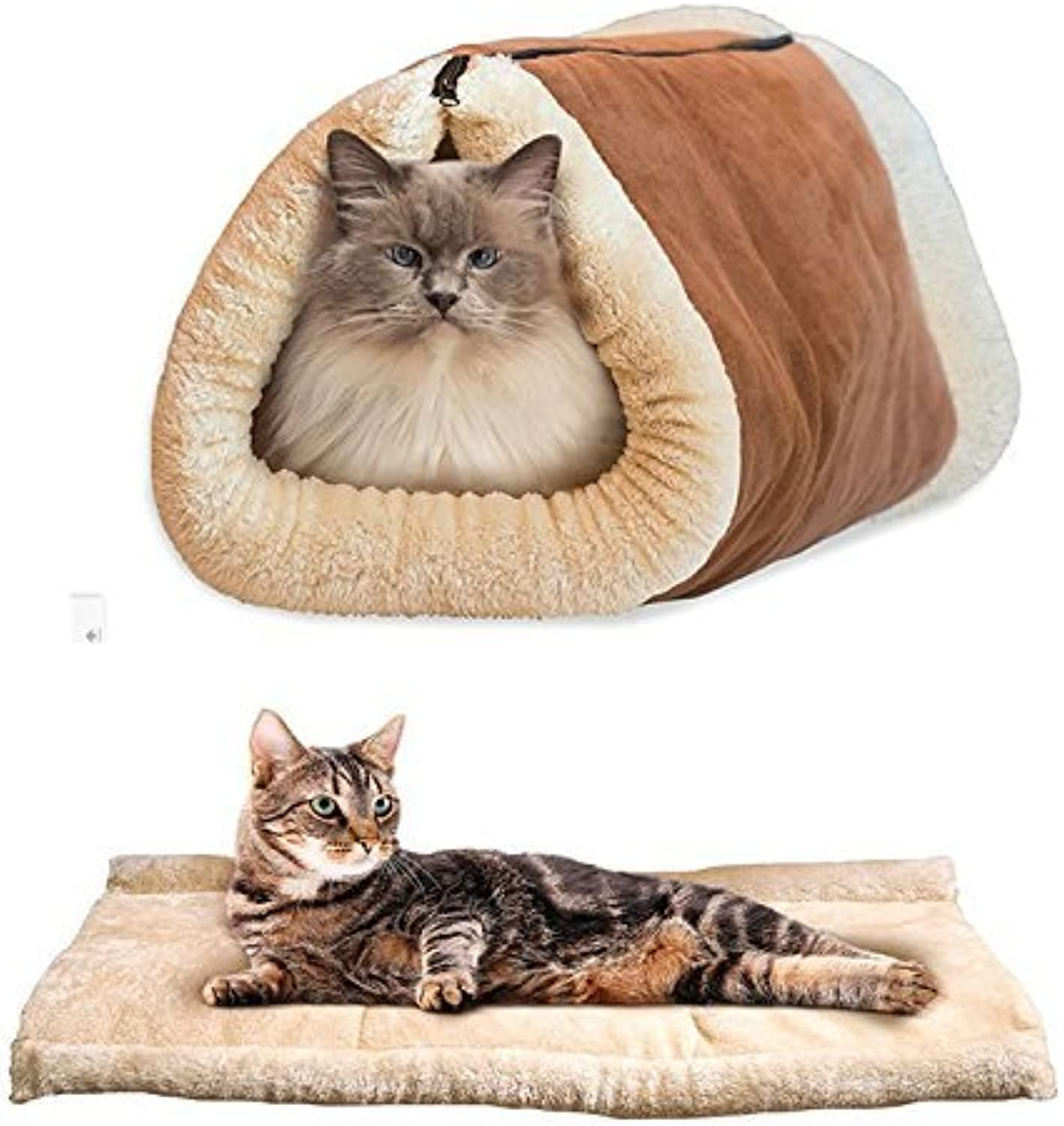 Huihuger Useful 2 in 1 Tube Cat Mat and Bed Small Pet Bed Tunnel Fleece Indoor Cushion Mat Cotton Pad For Dog Puppy Kitten Kitty Kennel Crate Cage Shack House Brown Pet Favorites