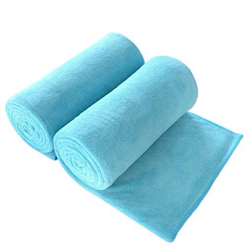 "JML Bath Towel, Microfiber Towel Sets 2 Pack (30"" x 60"") - Large Size, Extra Absorbent, Quick Drying, Multipurpose Use as Bath Fitness Towel, Sports Towels, Yoga Towel, Aquamarine"