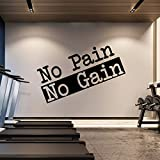 Extra Large Gym Wall Decal | No Pain No Gain Inspirational Wall Sticker Quote | 2 ft x 4 ft Huge Art Decoration | Big Vinyl Lettering Motivation Home Gym | Workout Fitness Exercise Sign (Black)
