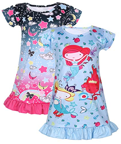 Coralup Little Girls' 2-Pack Nightgowns Casual Dress(Star+Mermaid,D1,3-4 Years)
