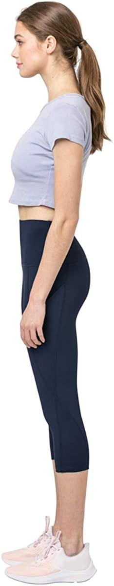 Yoga and Everyday Wear High Waist Tummy Control Compression Leggings Capri Clasfit Lilia Side Pocket 4 Way Stretch
