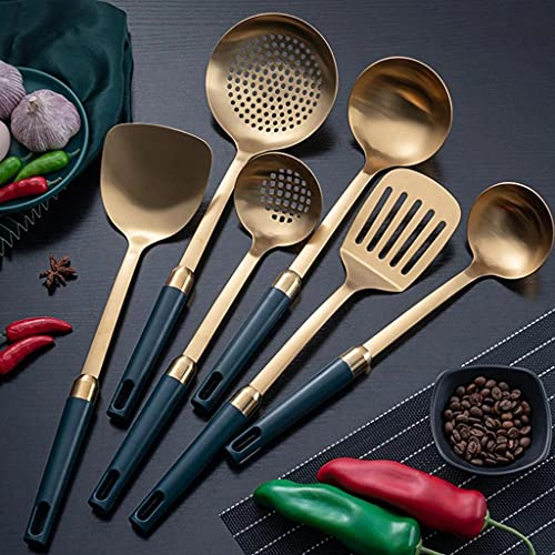 KJHD Turner/cucharón de acero inoxidable portátil/cuchara/sopa de sopa/espátula/no palo Herramienta de cocina de cocina utensilios de cocina