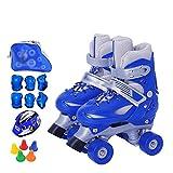 Dream ZX Los Patines de Rodillos Ajustables para niños/Adultos Mujeres Principiantes (Color : Blue, tamaño : X-Small 23-26)