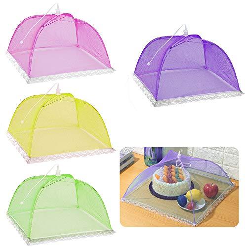 Eyscoco - Juego de 4 campanas de mosca, cubiertas de malla para comida, cubiertas plegables para tartas, para comida, alimentos, barbacoa, fiestas, buffets, camping, picnic