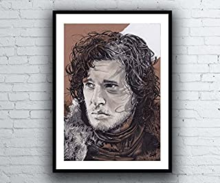 Game of Thrones Jon Snow Portrait Drawing - signed Giclée art print A4 size pen painting artwork