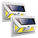 JUSLIT Solar Lights Outdoor, 74 COB LEDs Motion Sensor Light, 2 Modes Wireless Security Wall Lighting W/ 270° Wide Angle, IP65 Waterproof, for Front Door, Yard, Garage, Garden, Deck, Porch (2PK)