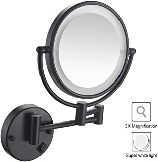 Makeup Mirror Wall Mounted Makeup Mirror Lighted, Bathroom Wall Mount Mirror with 1X/5X Magnification, Two-Sided 360°Swivel Design Extendable, Shaving in Bedroom or Bathroom - Black