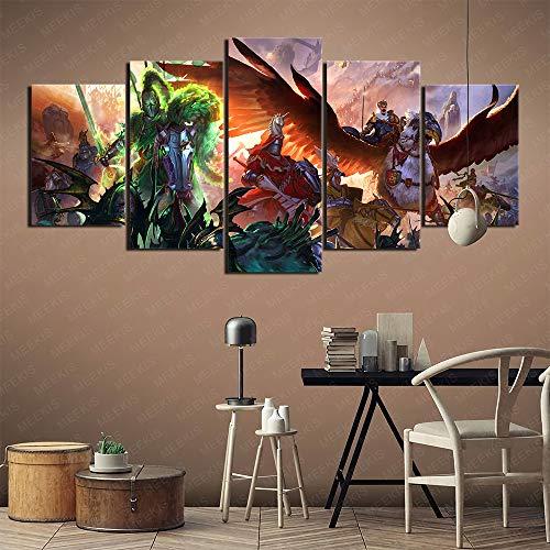 Airxcn Poster Artistico 5 Pezzi Pittura su Tela 3D Warhammer Total War Family necessita di 100x50 cm Senza Cornice