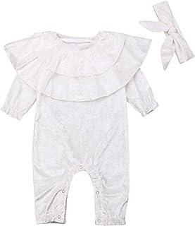 الرضع طفلة بوي المخملية رومبير طويلة الأكمام بذلة + عقال تكدرت الياقة ملابس ملابس (Color : White, Size : 18-24Months)