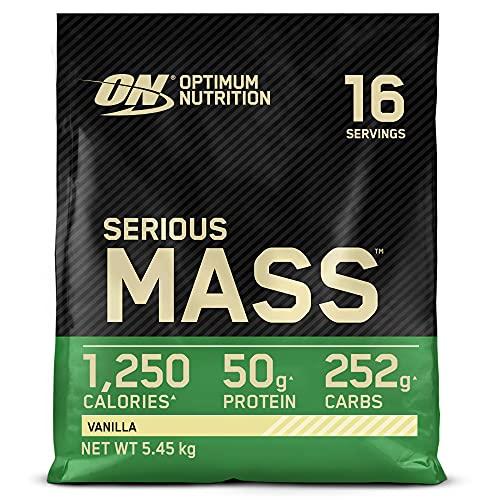 Optimum Nutrition Serious Mass Proteina en Polvo, Mass Gainer Alto en Proteína, con Vitaminas, Creatina y Glutamina, Vainilla, 16 Porciones, 5,45kg, Embalaje Puede Variar