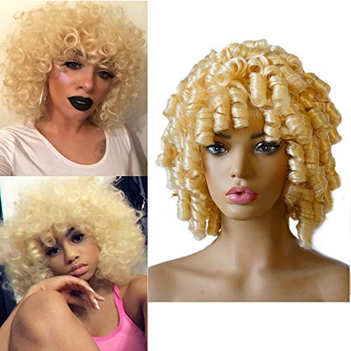 Short Blonde Curly Synthetic Hair Wigs forBlack Women Andromeda Fluffy Kinky Curls Hair Wigs Loose Curly AfricanAmerican Costume Cosplay Cheap Half Wigs + 1 Free Wig Cap(Blonde)