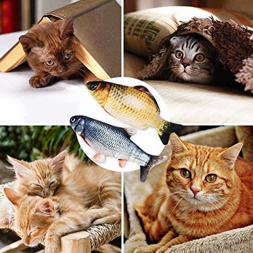 4 Pack Electric Moving Fish Cat Toy, Electric Wagging Fish Realistic Plush Simulation Flopping Fish Doll Cat Catnip Kicker Toys, Interactive Pets Pillow Chew Bite Kick Supplies for Cat Kitten Kitty ca