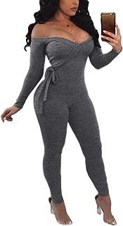 Women's Sexy Off Shoulder Cross Wrap Solid Color Long Sleeve Bodycon Bandage Jumpsuit Romper Clubwear